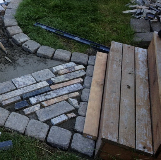 walkway made from recycled granite countertops_6