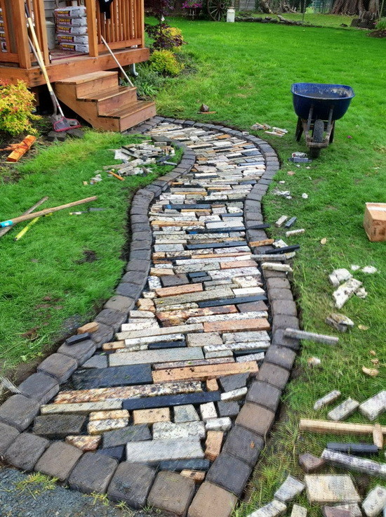 walkway made from recycled granite countertops_7