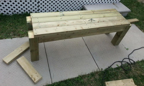 "... the 4 - 2x4x48"" pieces of wood and attach them to the top of the bench"