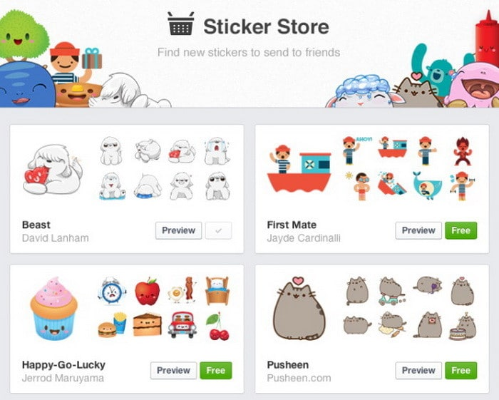 How to use cool facebook stickers in chat and conversations