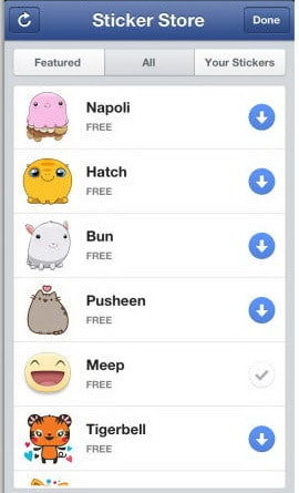 facebook stickers store on mobile