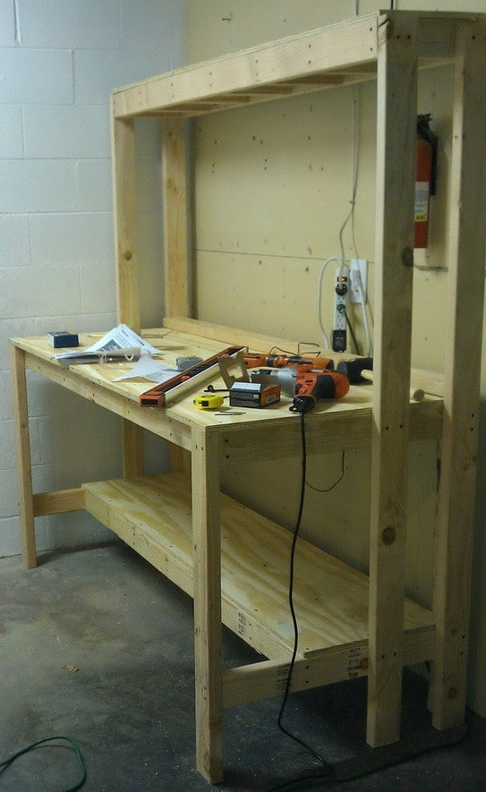 ... the top pegboard structure and the bottom shelf top has been assembled