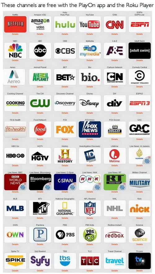 roku playon tv free channels