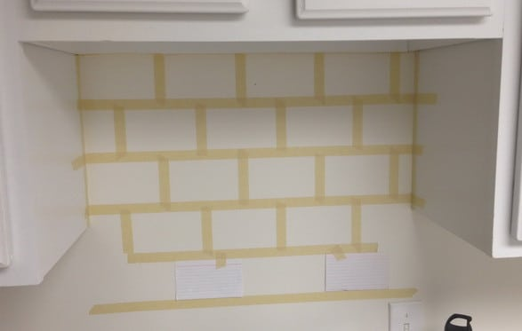 tape the areas in lengths to simulate tile