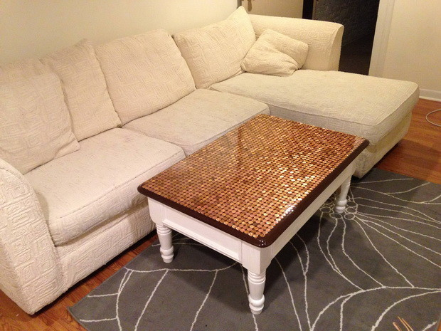 How To Make A Penny Top Coffee Table_05
