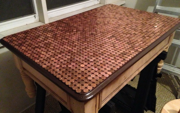 How To Make A Penny Top Coffee Table_11