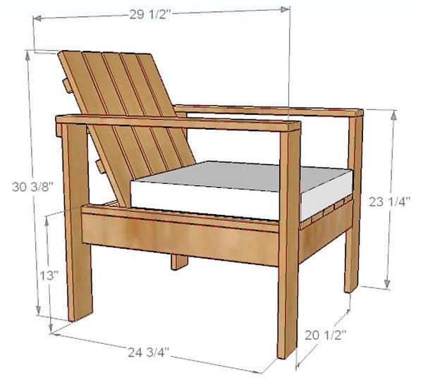 Gentil Patio Chair Dimensions