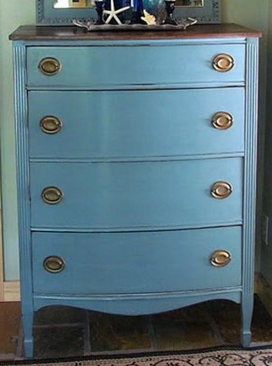 Dresser With 2 Different Shades Of Blue Paint