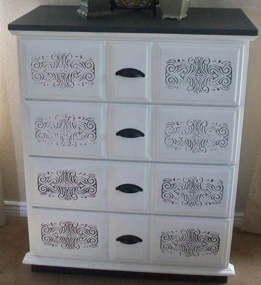 2 tone paint stencil dresser furniture project