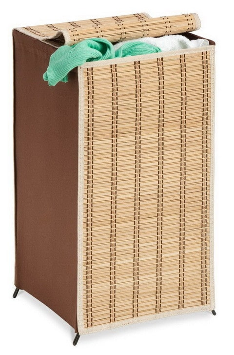 Bamboo Laundry Organizer Wicker Weave Hamper