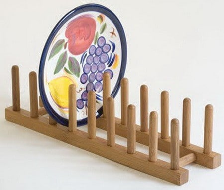 Bamboo Plate Rack Pot Lid Holder