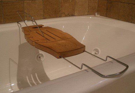 Bamboo and Chrome Bathtub Caddy