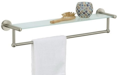 Glass Shelf with Towel Bar