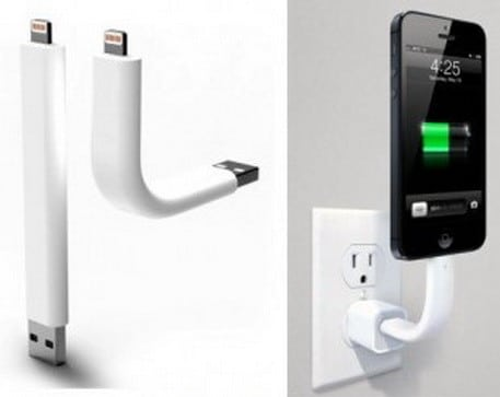 Lightning charging cable also functions as a stand for your iPhone 5
