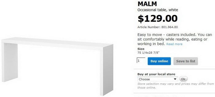 Malm - Ikea Occasional Bed Table