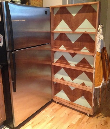 here is our beautiful rolling kitchen pantry rack completed and next