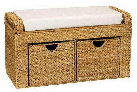 Woven Banana Leaf Cushioned Storage Seat with 2 Drawers