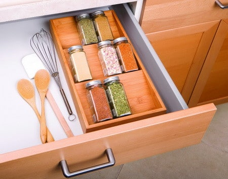 Bamboo spice rack drawer
