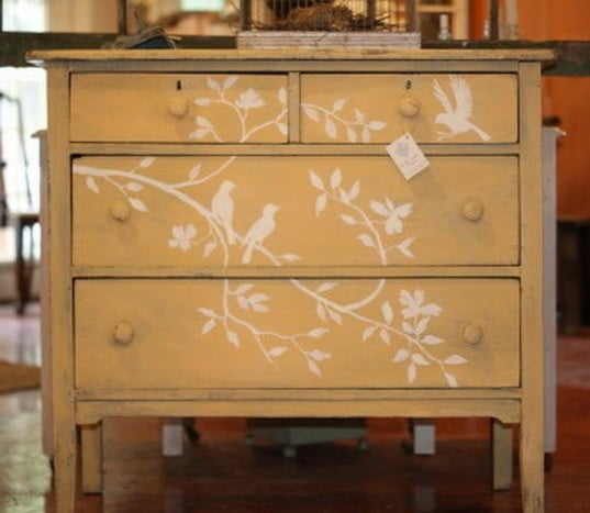 stencil on old furniture
