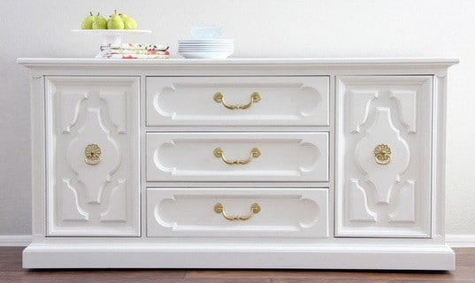 white with gold accents dresser