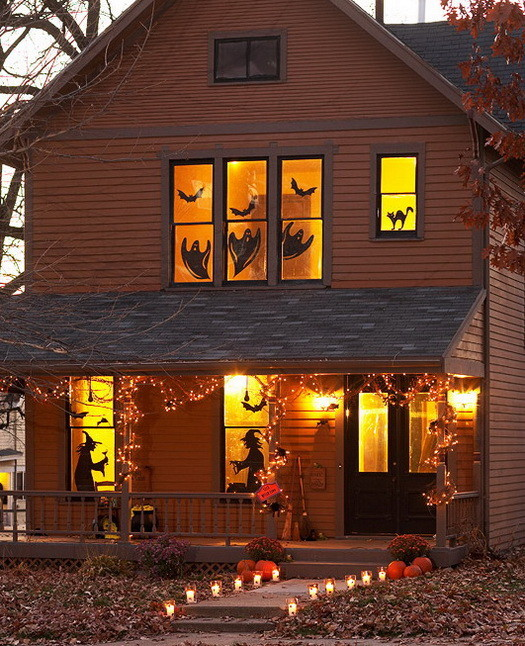 34 scary outdoor halloween decorations and silhouette. Black Bedroom Furniture Sets. Home Design Ideas