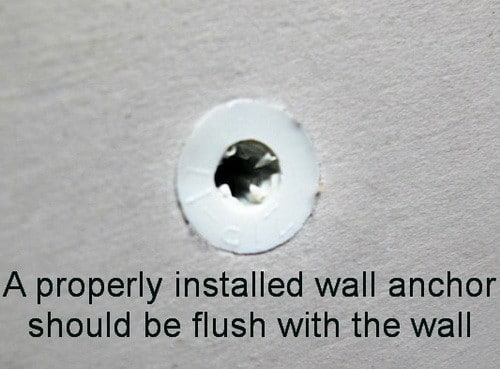 drywall anchor should be flush with wall