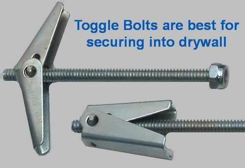 toggle bolts are best for securing things in drywall