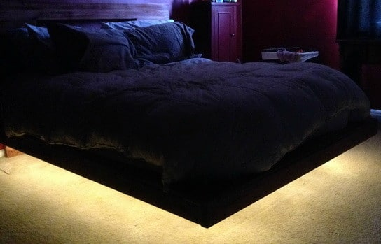 How To Build A DIY Floating Bed Frame With LED Lighting