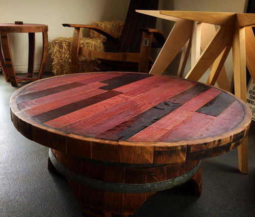 handmade whiskey and wine barrel recycled furniture. Black Bedroom Furniture Sets. Home Design Ideas