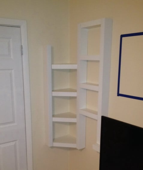 Here are the DIY corner shelf unit completely finished and painted ...