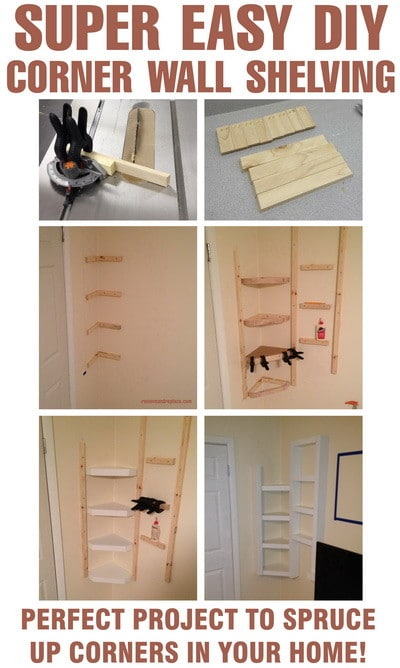 Do It Yourself Home Design: How To Build Simple Corner Wall Shelving Yourself DIY