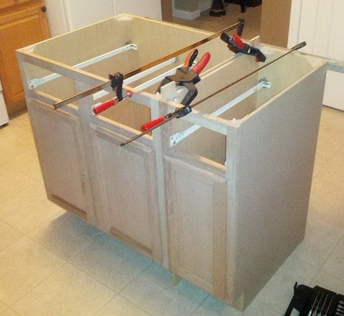 How to make a diy kitchen island and install in your for Build kitchen island with cabinets