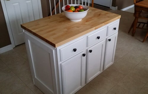 How to make a diy kitchen island and install in your for Making a kitchen island from cabinets