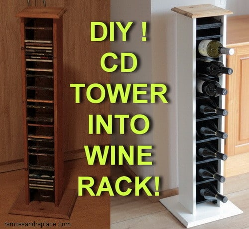 how to make a wine rack from a cd tower