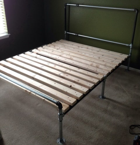 how to build a diy bed frame out of metal pipe