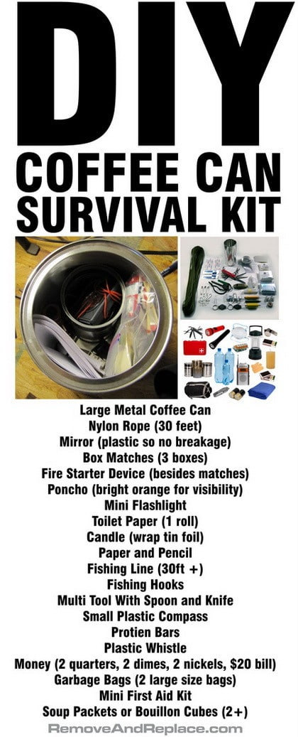 Diy Coffee Can Survival Kit Survival Supplies List