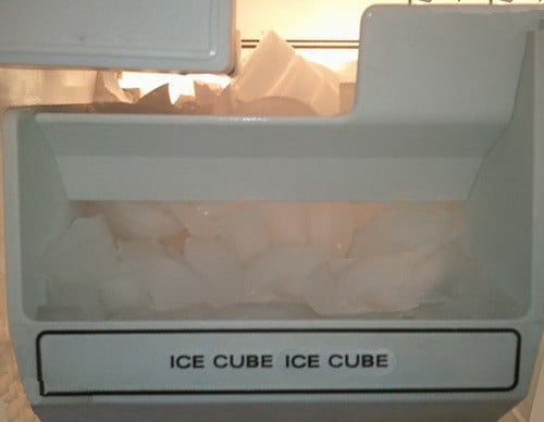 ice cubes in freezer
