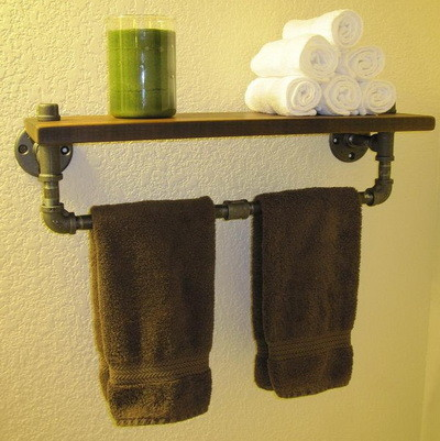 bathroom towel rack made from recycled metal pipe