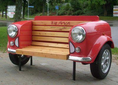 bench made from front of car