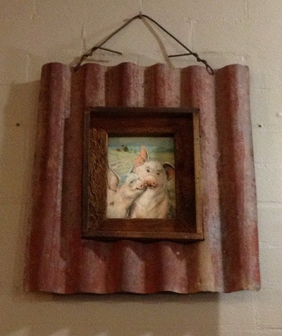corrugated iron made into picture frame