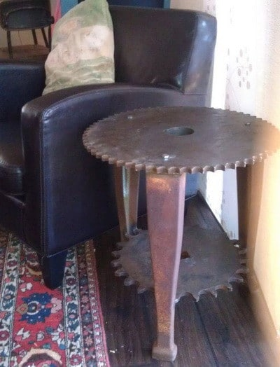 machine gear made into end table