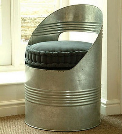 oil drum turned into a chair