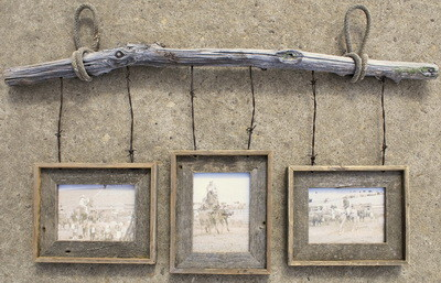 picture frame made with old barbwire