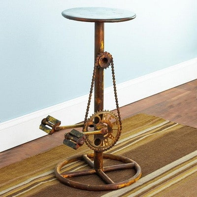 stool made from bicycle pedals chain and gears