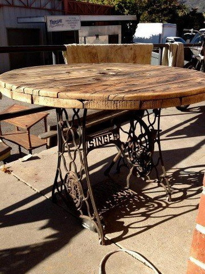 table made from singer sewing machines