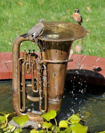 tuba turned into a water fountain