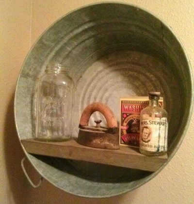 wash tub made into a picture shelf frame