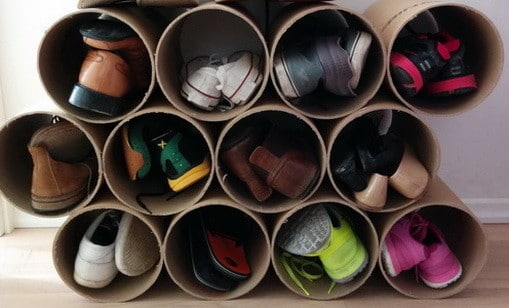 Make Shoe Organizer From Cardboard Pipe_4