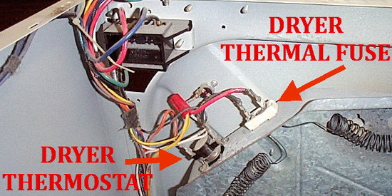 location of thermal fuse on dryer