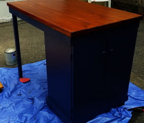 DIY Turn A Microwave Cart Into A Beautiful Rustic Kitchen Island_5